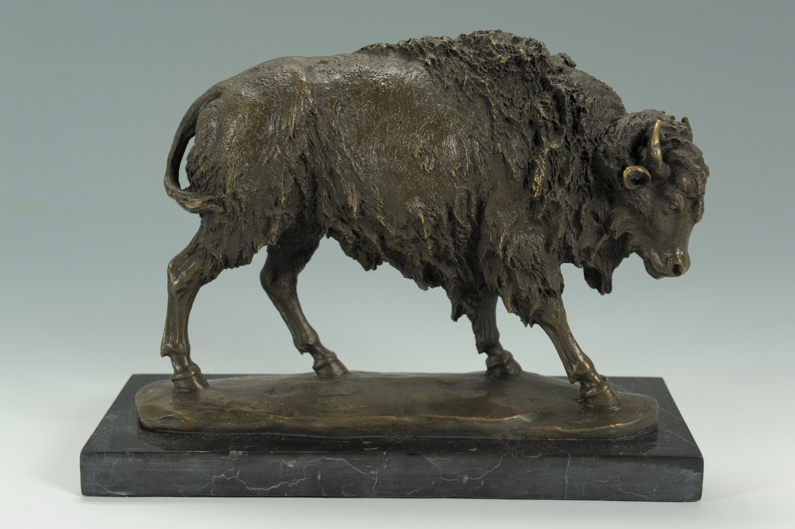 Lot 638: 2 Bronze Animal Figures and 1 Faux Marble Dog