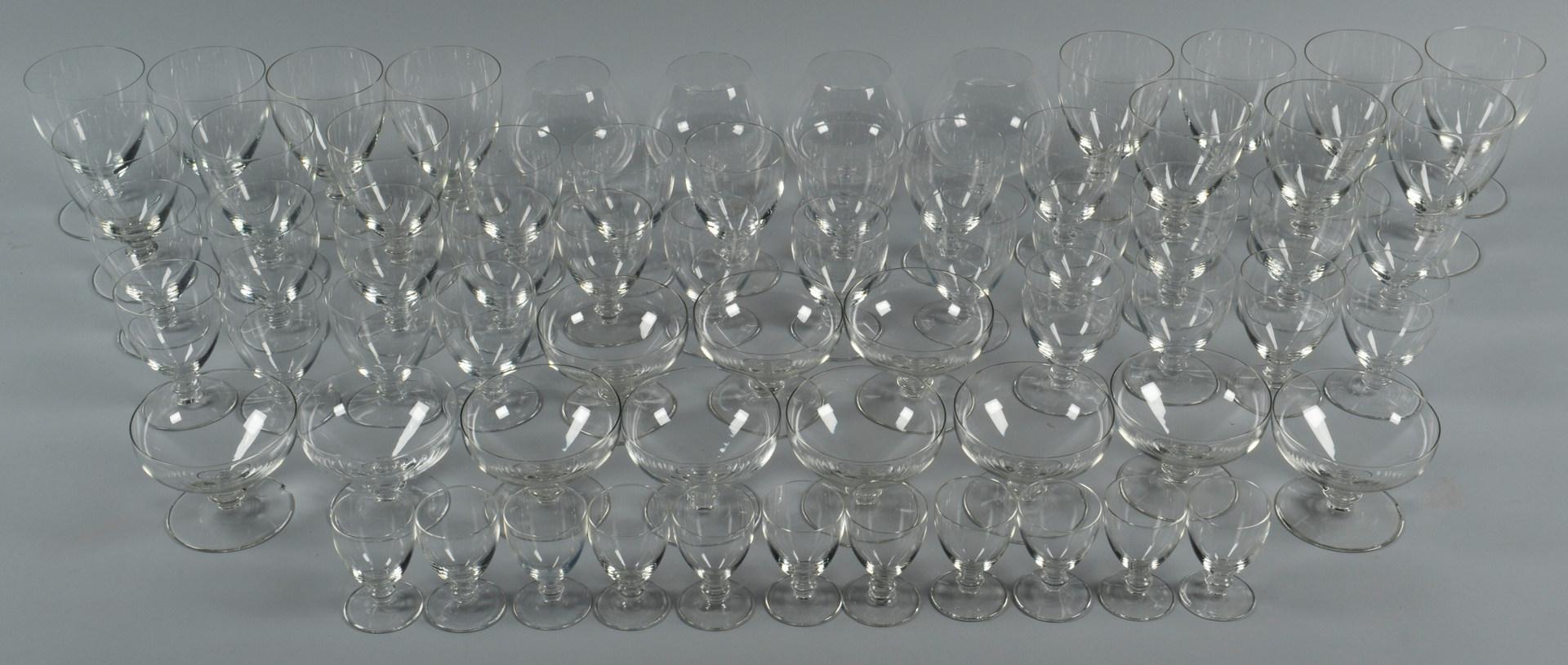 Lot 639: Val St. Lambert Crystal Stemware, 62 pieces