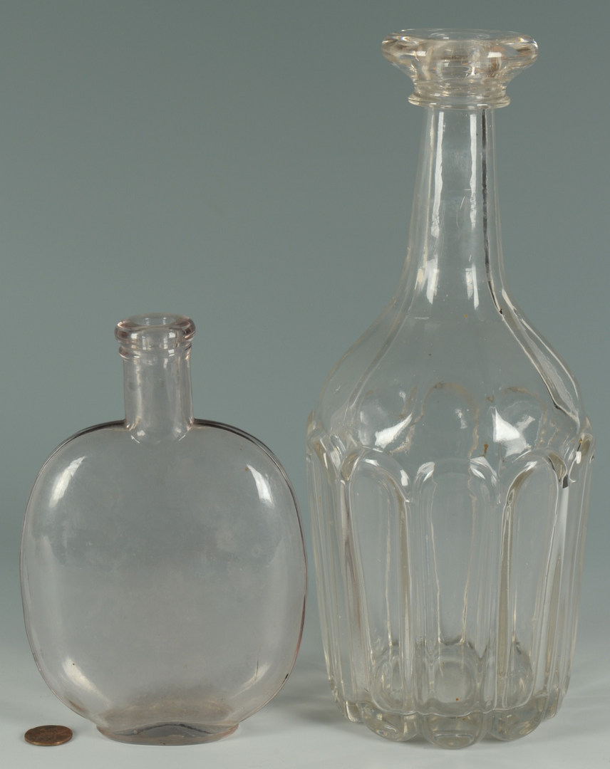 Lot 641: Two early American Blown Glass Bottles