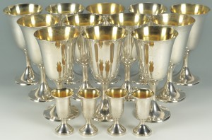 Lot 64: 12 Sterling Goblets & 4 Sterling Cordials