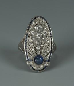 Lot 67: Art Deco 18k Diamond and Sapphire Ring
