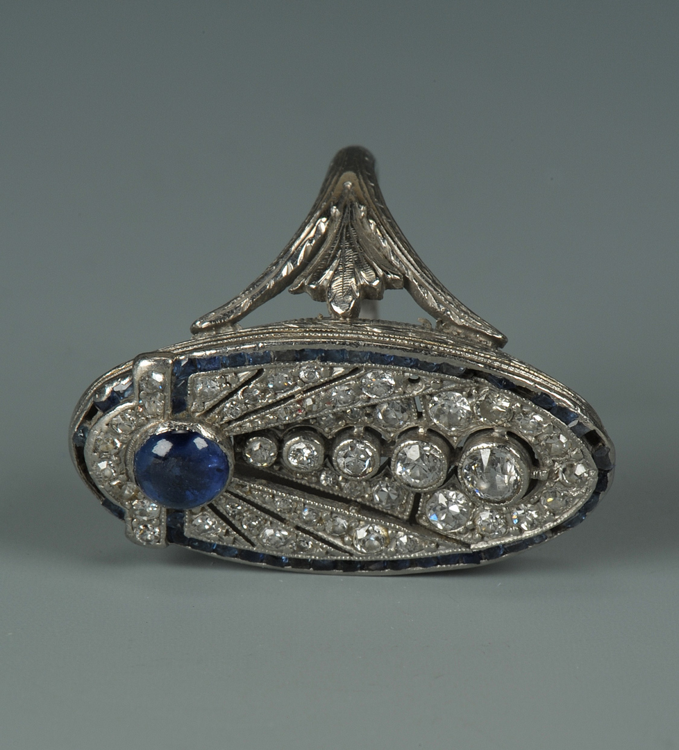 Lot 67: Art Deco 18k Diamond and Sapphire Ring
