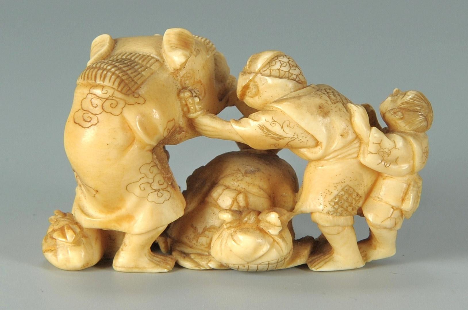 Lot 6: Japanese Ivory Netsuke Figural, Hoshin