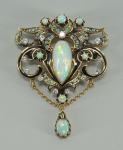 Lot 72: 14K opal, diamond pendant/brooch