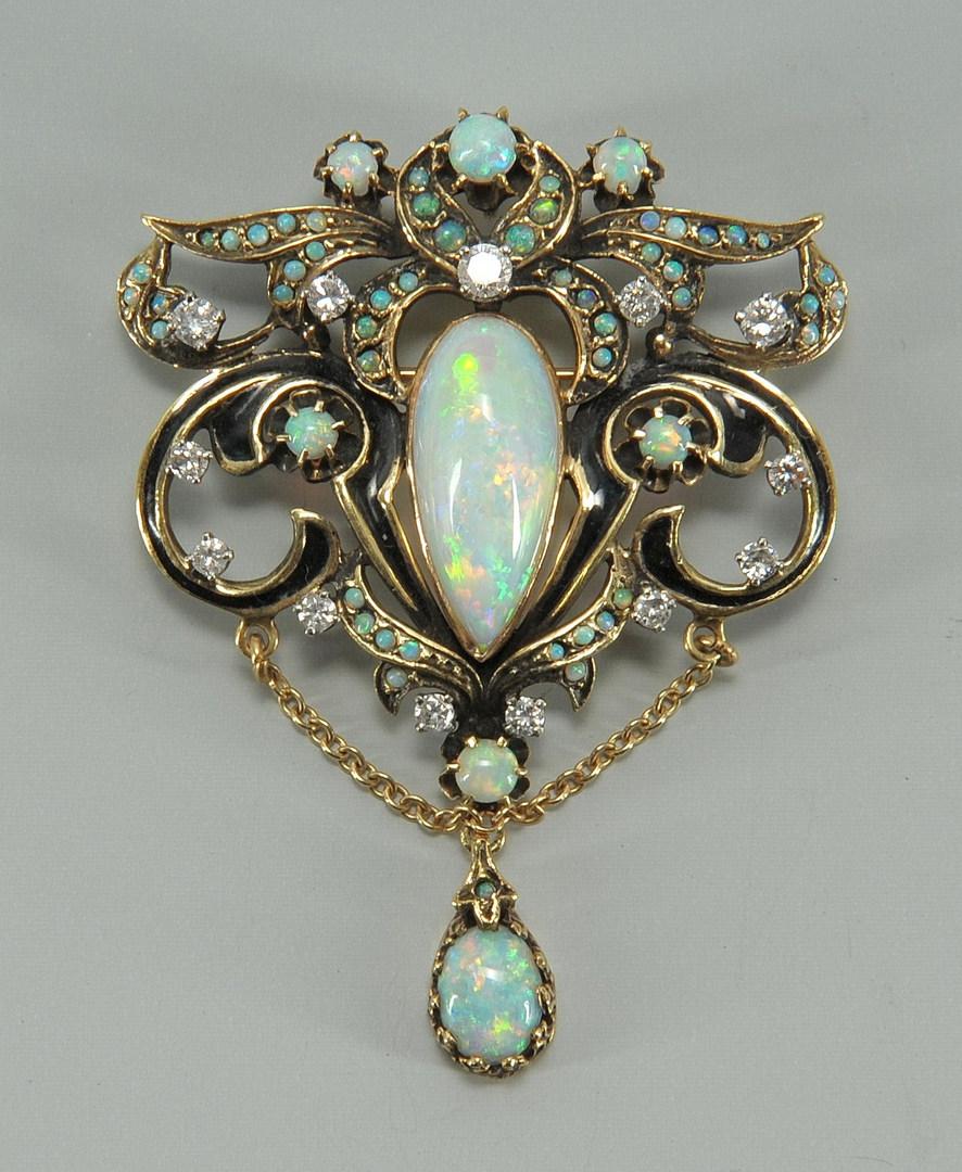Lot 72: 14K opal, diamond pendant/brooch