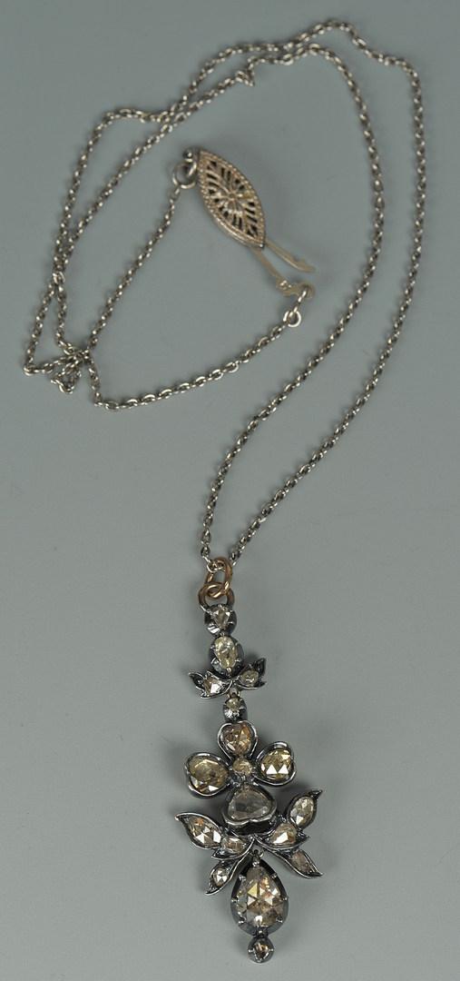 Lot 73: Victorian Diamond Flower Pendant