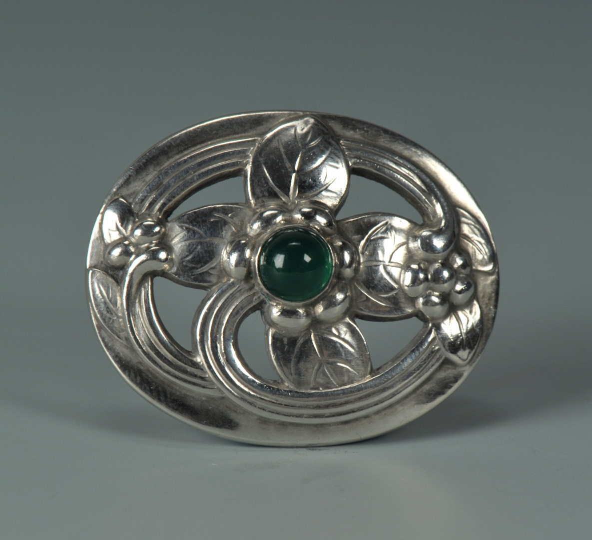 Lot 74: Georg Jensen Sterling Silver and Tourmaline Pin