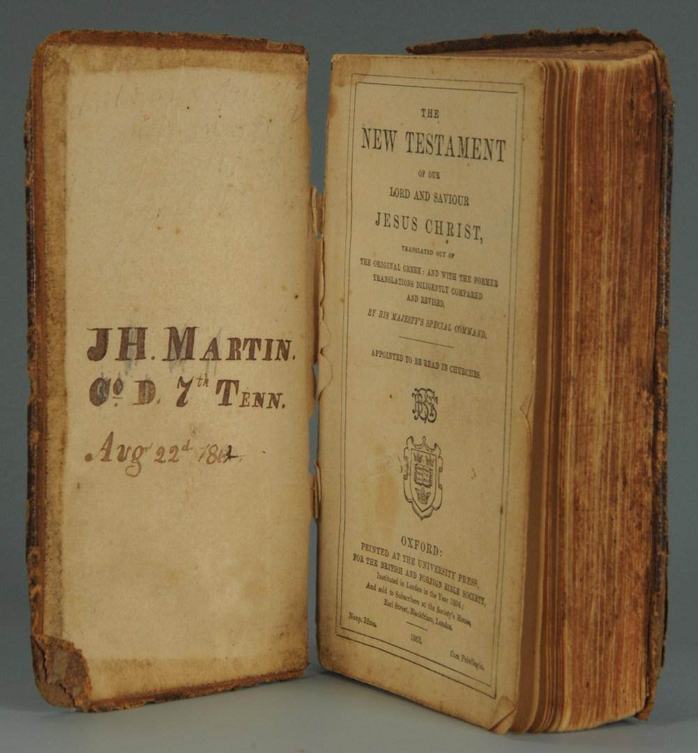 Lot 77: Confederate Soldier's Bible, 7th TN Company D