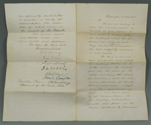 Lot 79: Pres. Pierce Cabinet Letter, signed Jefferson Davi