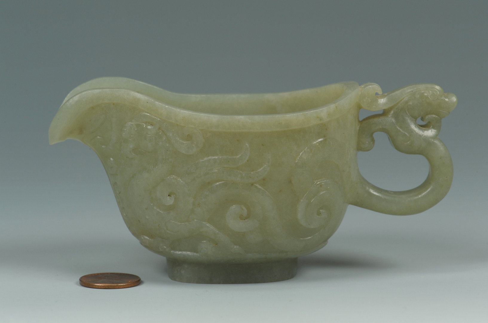 Lot 8: Chinese Carved Jade Libation Cup w/ Dragon Handle