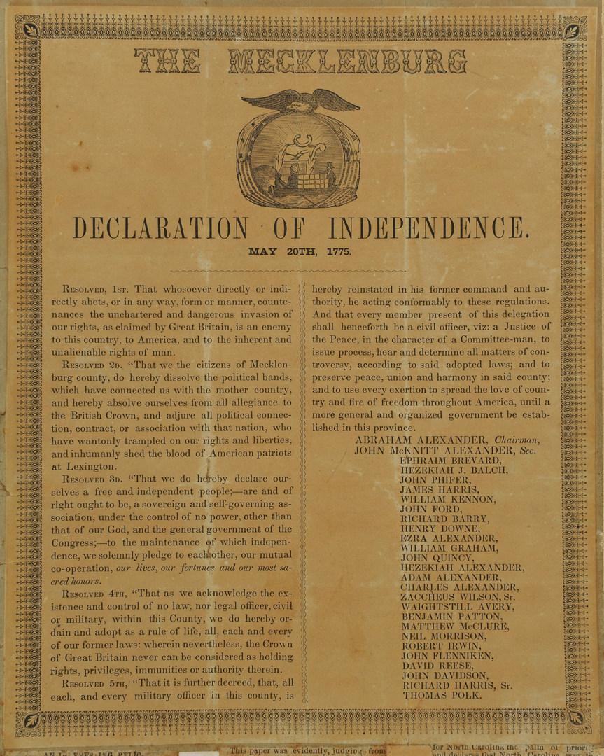 Lot 91: Mecklenburg NC Declaration of Independence Handbill