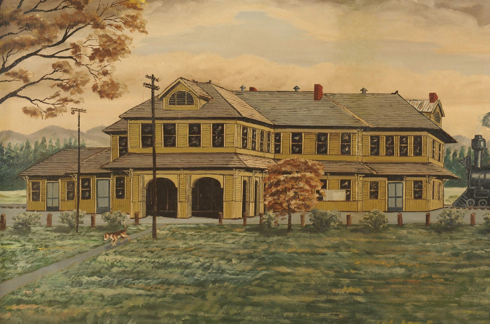 Lot 95: L&N Train Depot Oil on Canvas