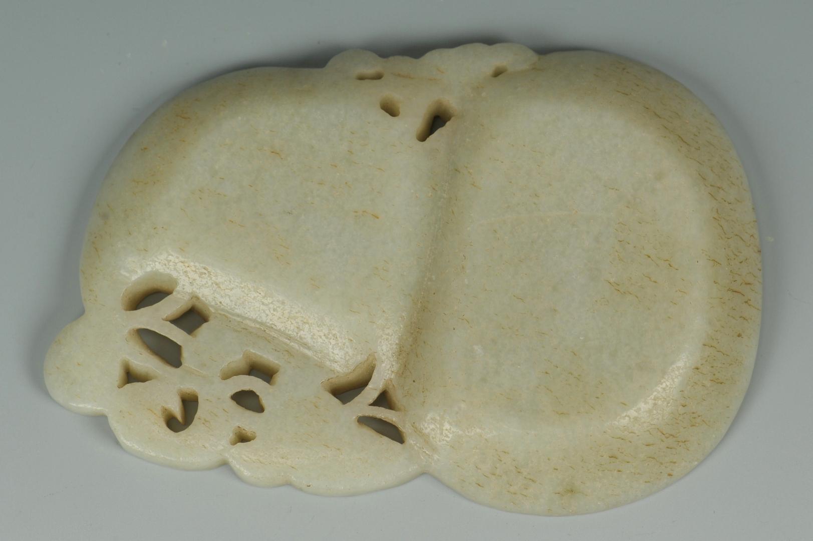 Lot 9: Chinese Carved Jade Inkstone w/ Bat & Foliage