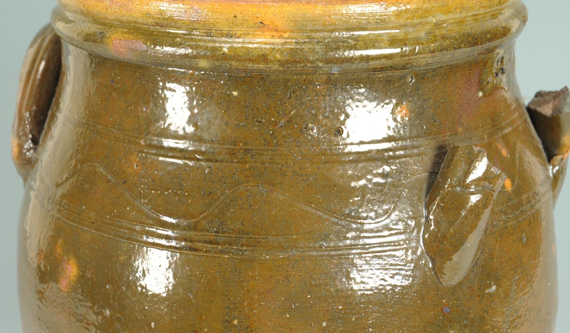 Lot __ Inv. #2905: East TN Redware Pottery Jar, attrib. Cain