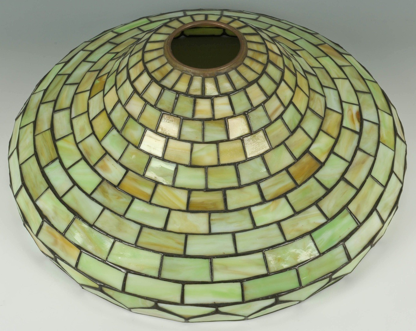 Lot __ Inv. #3934: Handel Art Glass Lamp w/ Green Glass Shade
