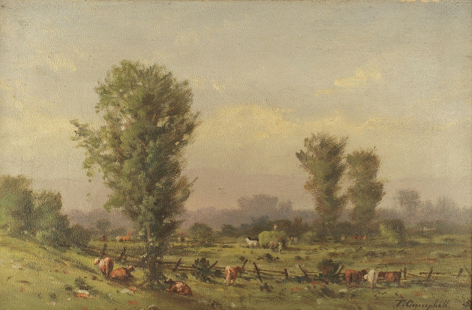 Lot __ Inv. #3990: Thomas Campbell pastoral landscape
