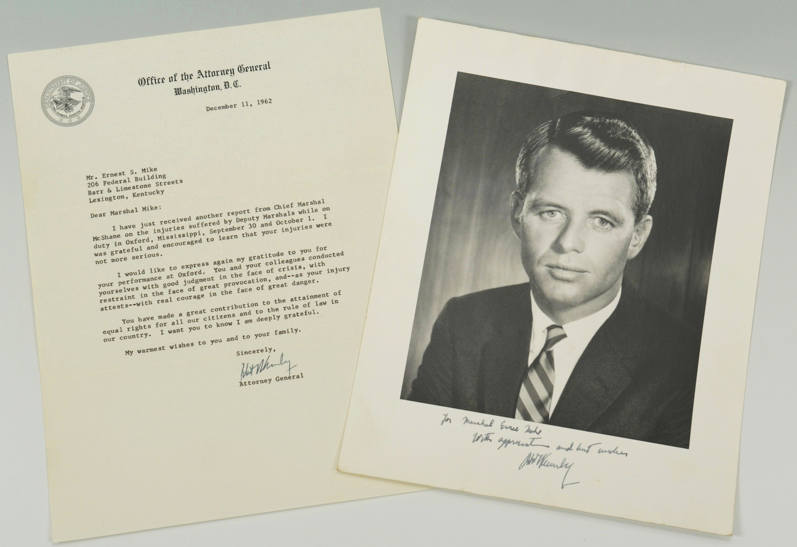Lot __ Inv. #4052: Robert Kennedy signed Civil Rights Letter, Photo