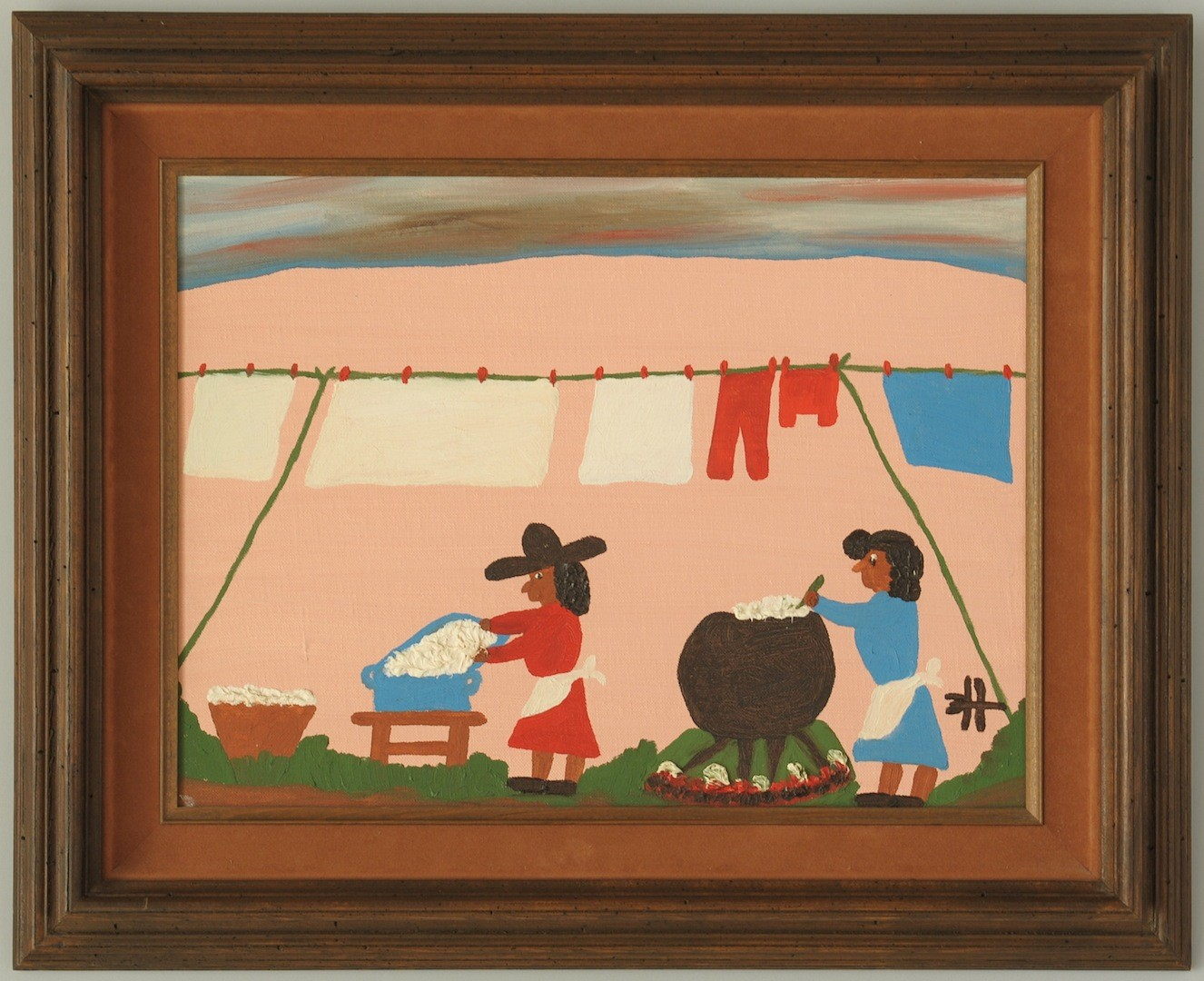 """Lot __ Inv. #4117: Clementine Hunter Oil on Board, """"Washday"""" & Photo"""