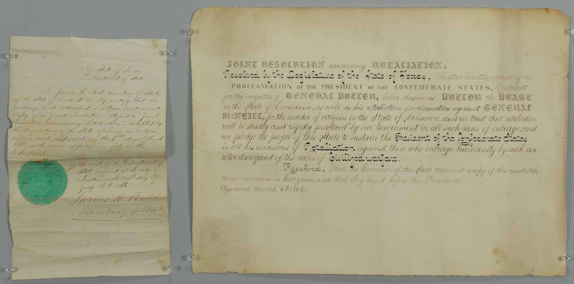 Lot __ Inv. #4169: Butler Texas Proclamation of Retaliation