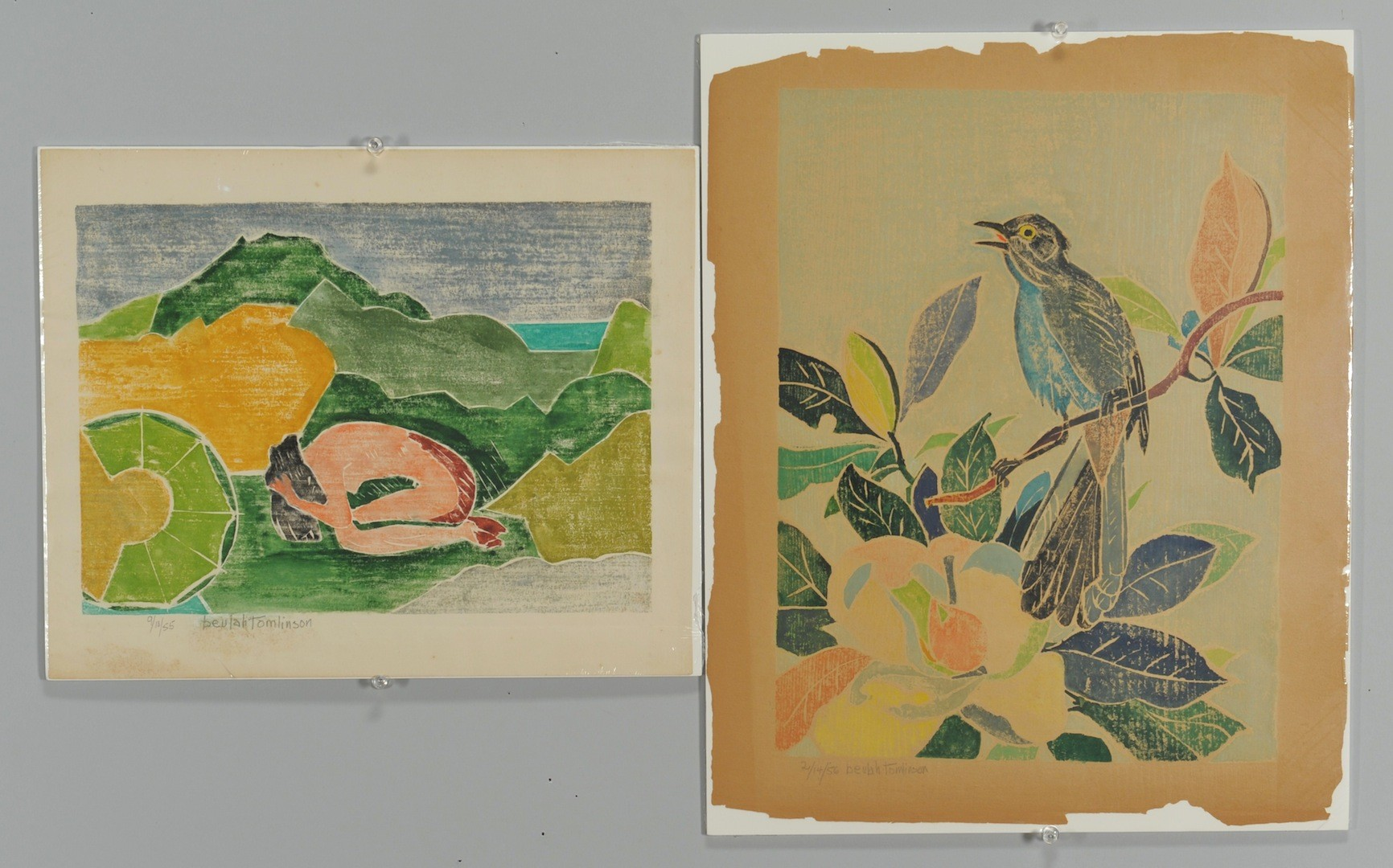 Lot __ Inv. #4181: 2 Beulah Tomlinson Wood Cut Block Prints: Bird and Crouching Nude