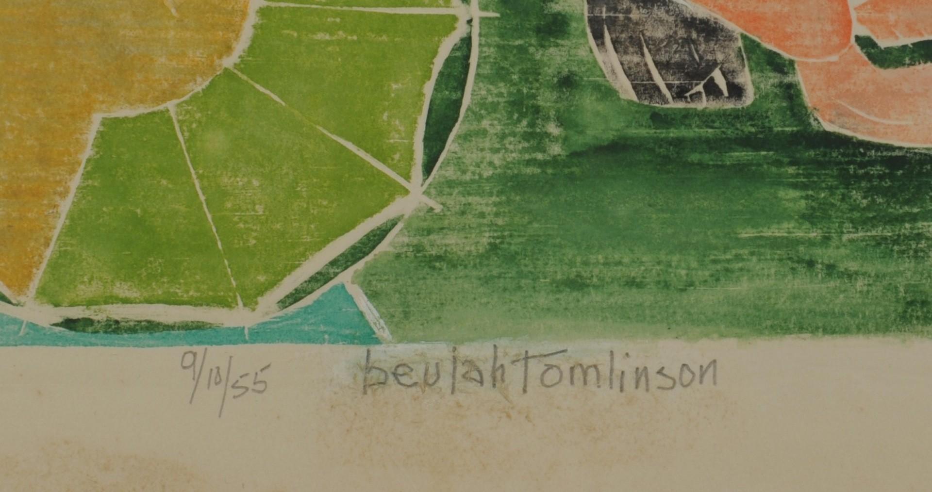 Lot __ Inv. #4181: 2 Beulah Tomlinson Wood Cut Block Prints: Bird and Crouching Nude