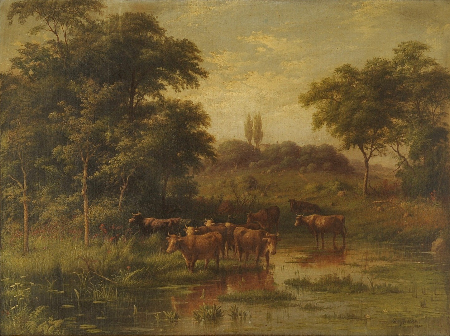 Lot __ Inv. #4209: George Riecke oil on canvas, landscape with cows
