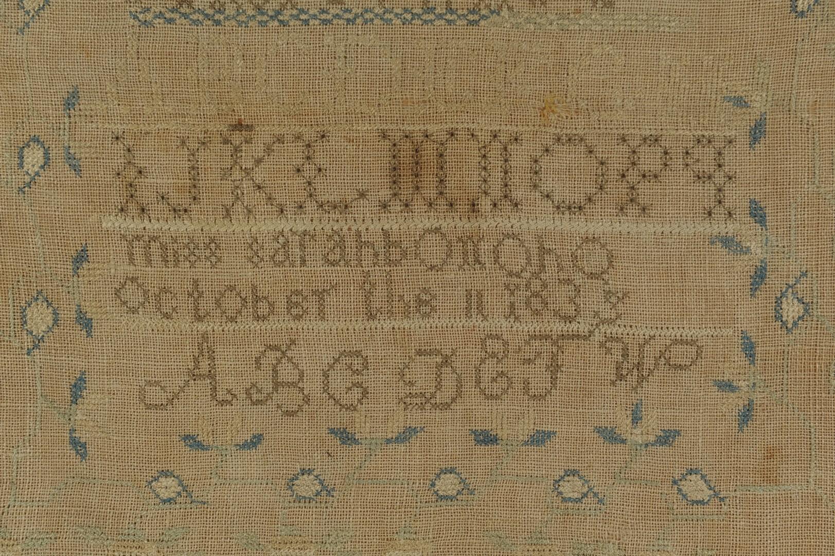 Lot __ Inv. #4217: Sarah Brevard Donoho needlework sampler and photos