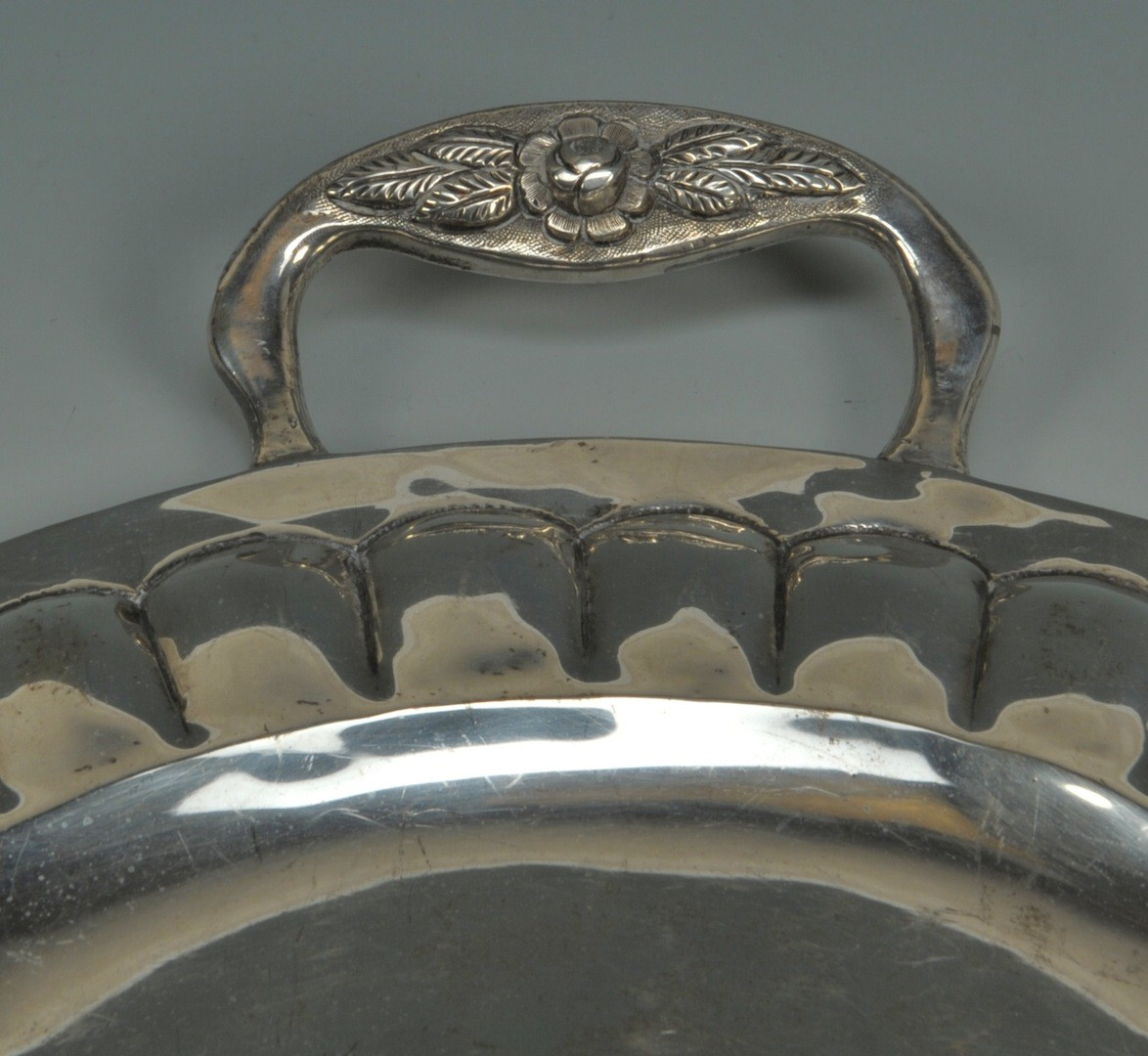 Lot __ Inv. #4244: Mexican silver tea service and tray, over 15 lbs