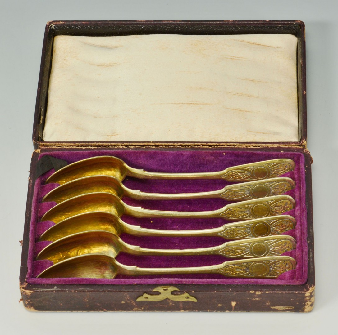 Lot 101: Boxed set of six 19th c. parcel gilt niello Russia