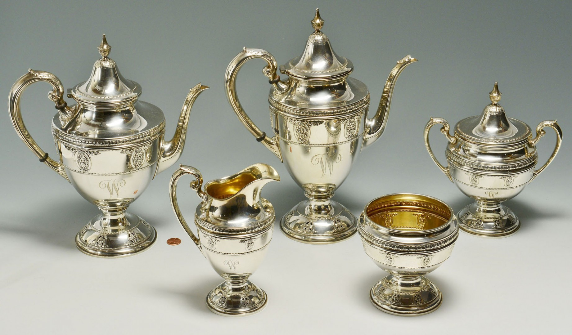 "Lot 102: Wallace ""Rose Point"" Sterling Coffee, Tea Service"