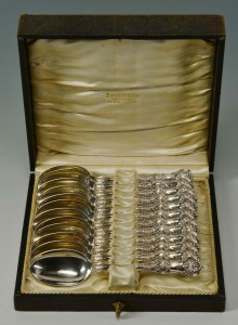 Lot 109: 12 Tiffany English King Sterling Spoons, cased