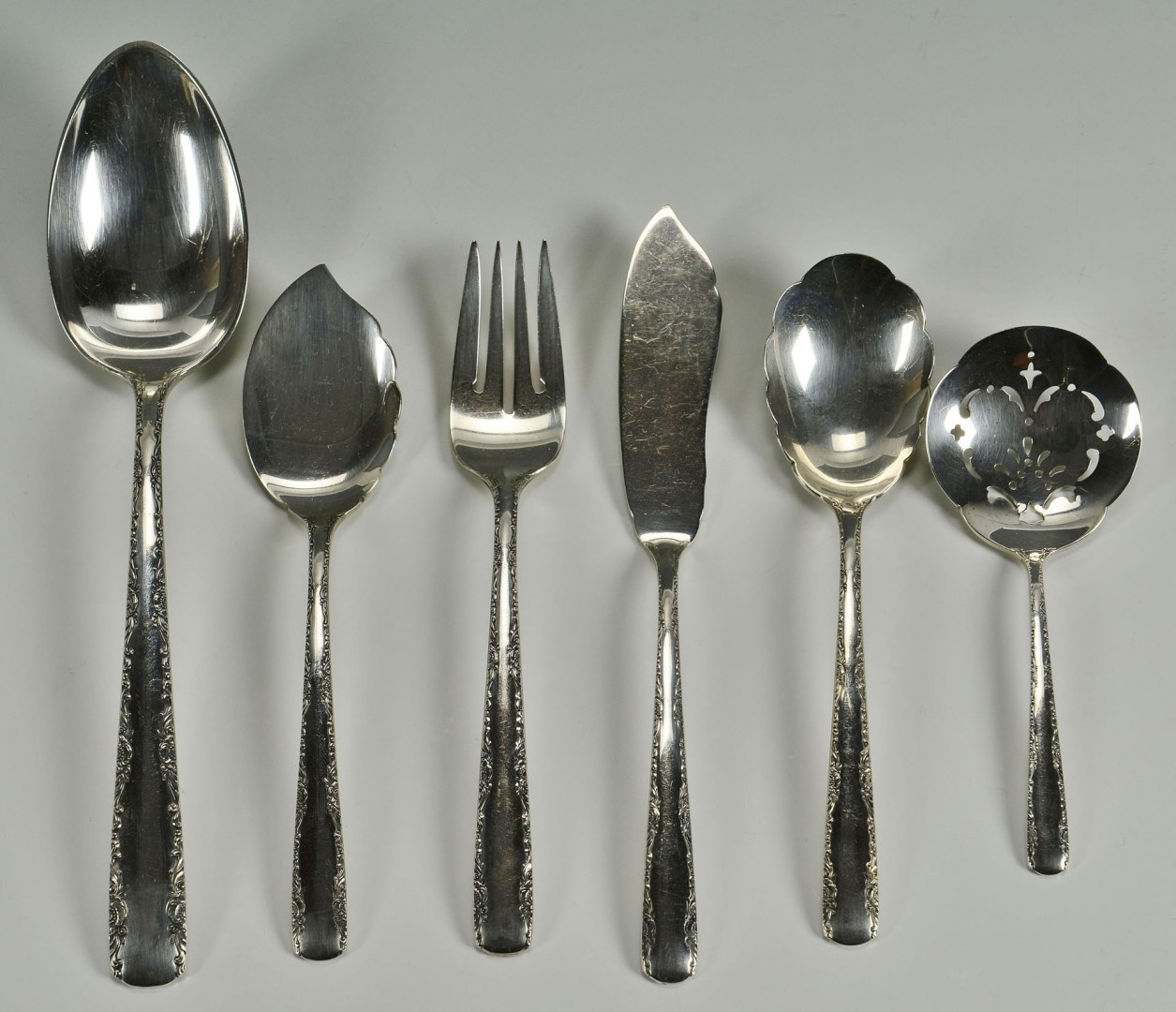 Lot 110: Gorham Sterling Flatware, Camellia Pattern, 66 pcs