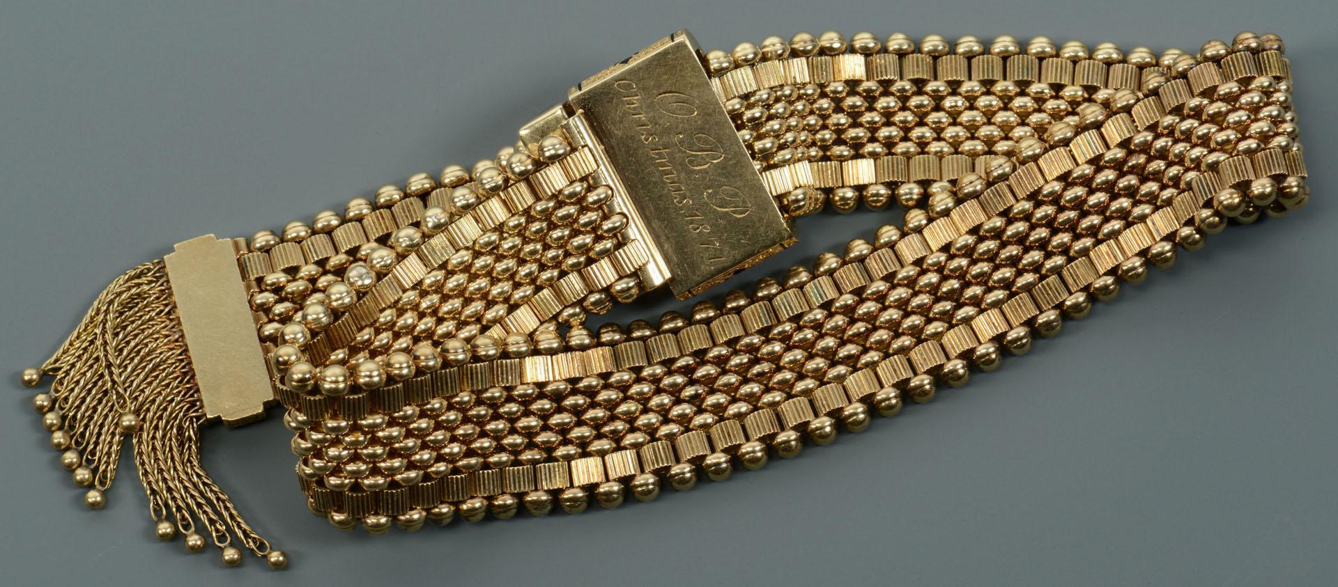 Lot 111: 14K Victorian Enamel Tassel Bracelet, 42.3 grams