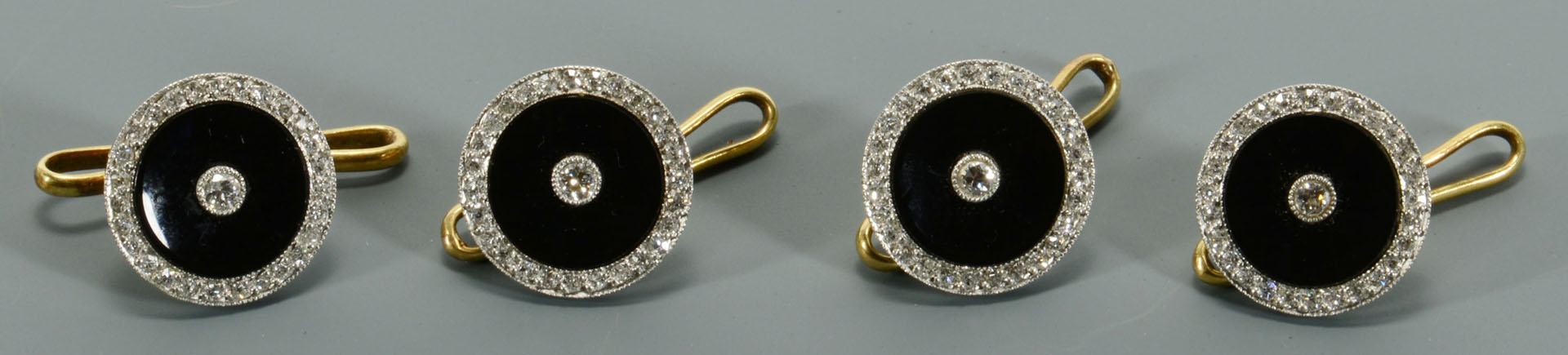 4 onyx and gold Dress Studs, retailed by Tiffany