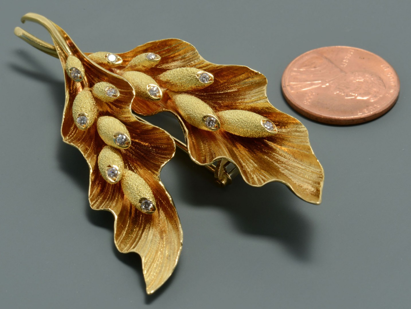 18K Diamond French Leaf Spray Fur Pin