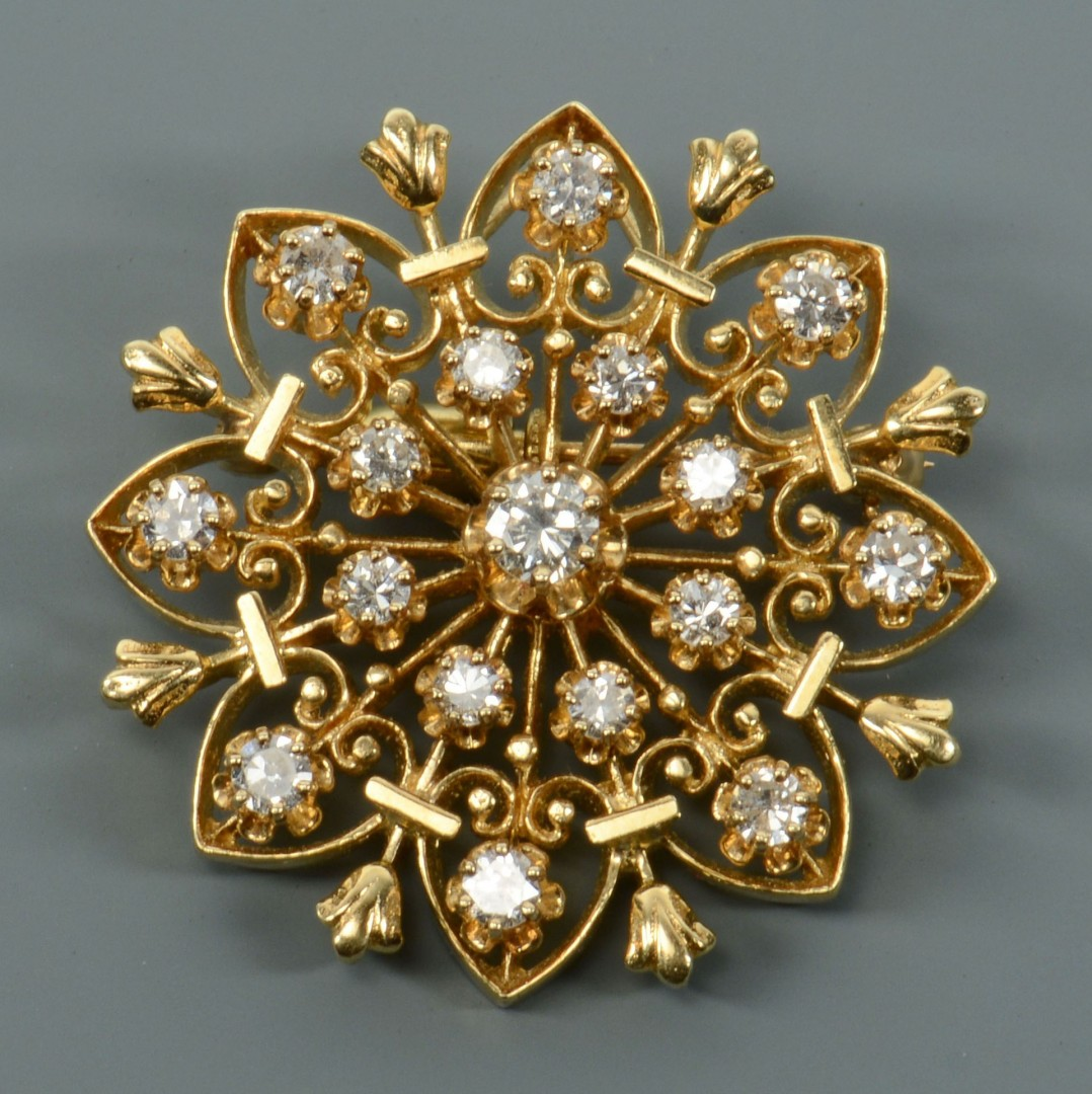 14k Gold and Diamond Starburst Pin