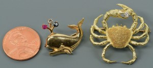 Lot 119: 18k Crab and 14k Whale Pins
