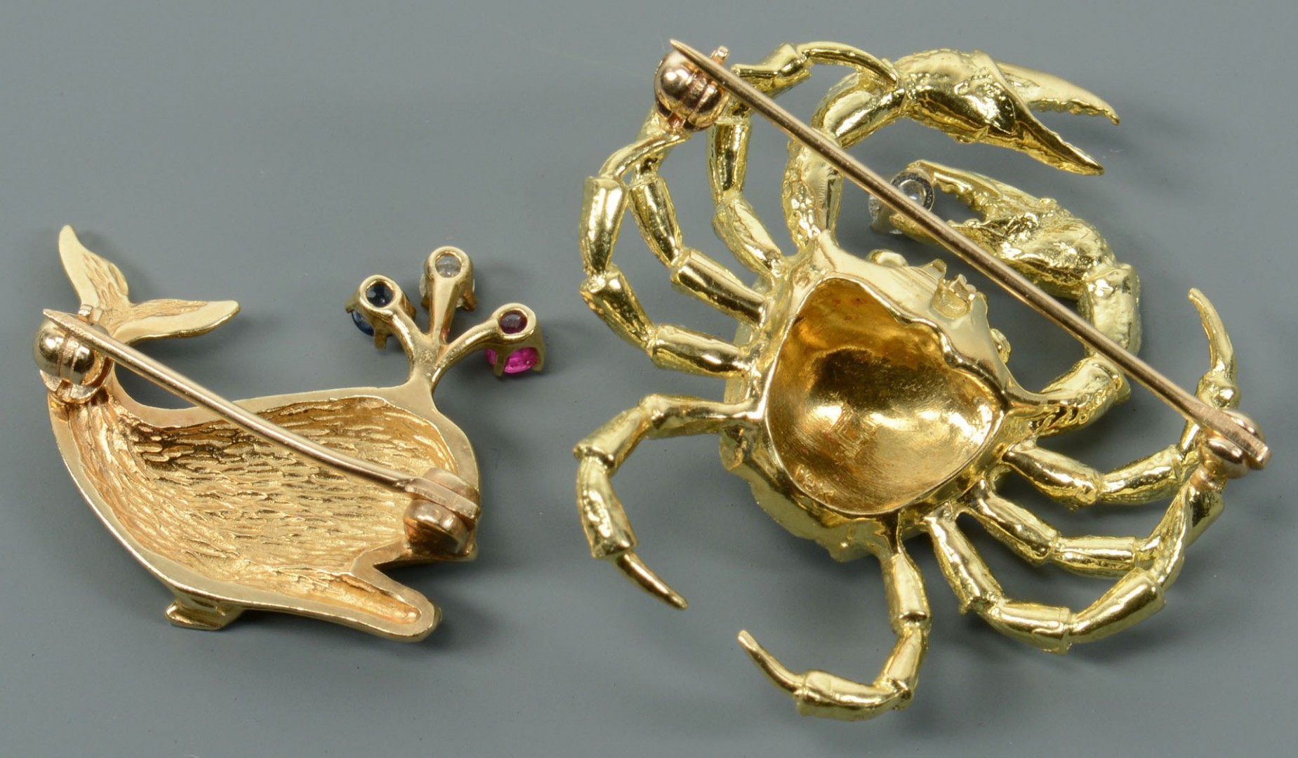 18k Crab and 14k Whale Pins