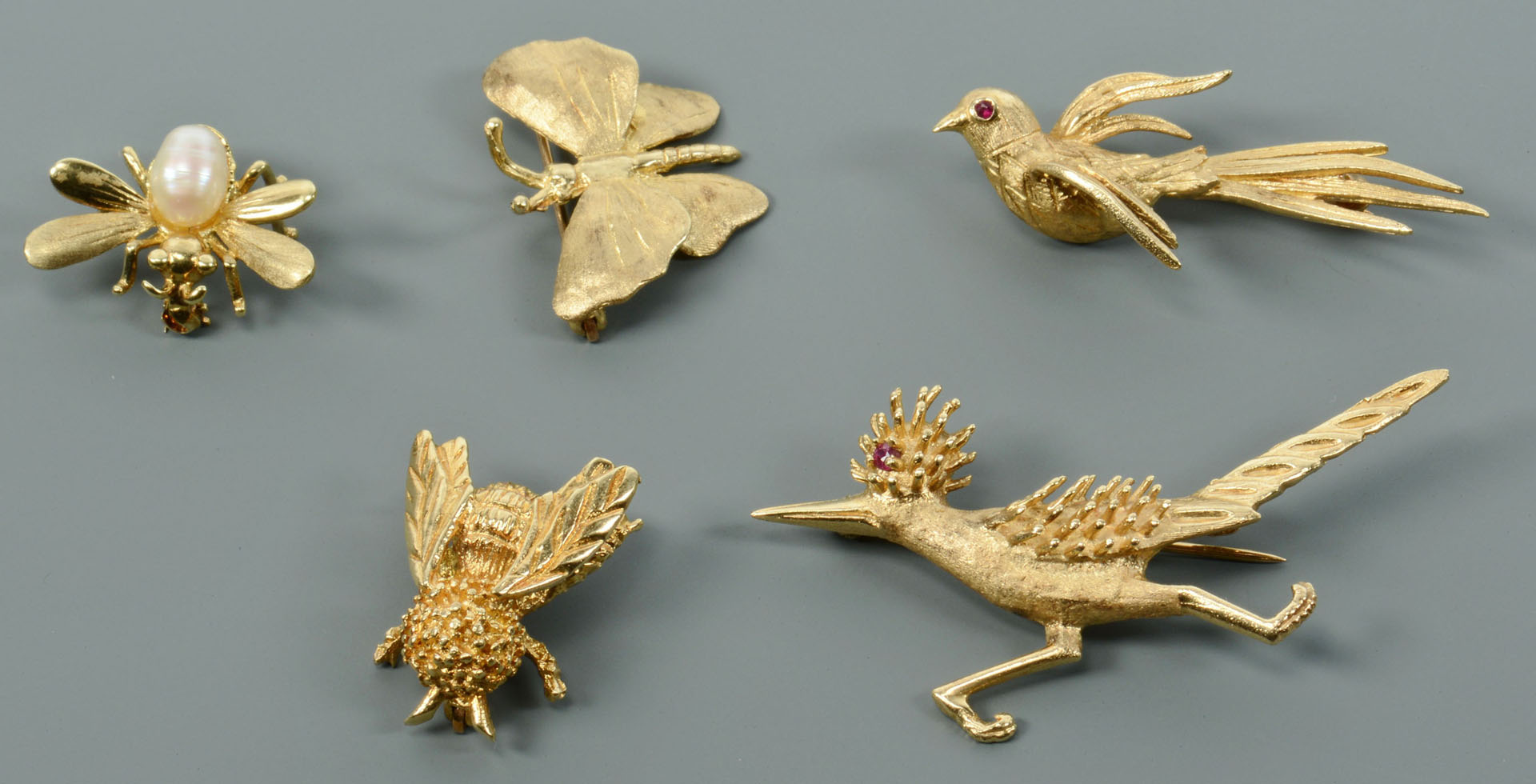 Lot 120: Five 14K Pins: Birds and Bugs