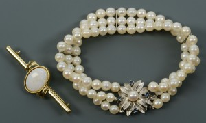 Lot 124: 14k 3-strand Pearl Bracelet and Opal Pin