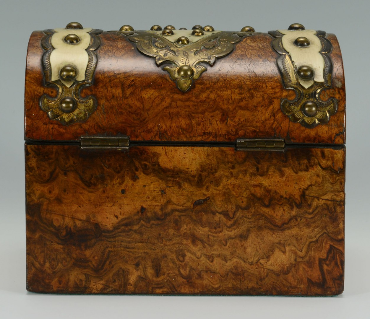 English Burl Wood & Ivory Mounted Tea Caddy
