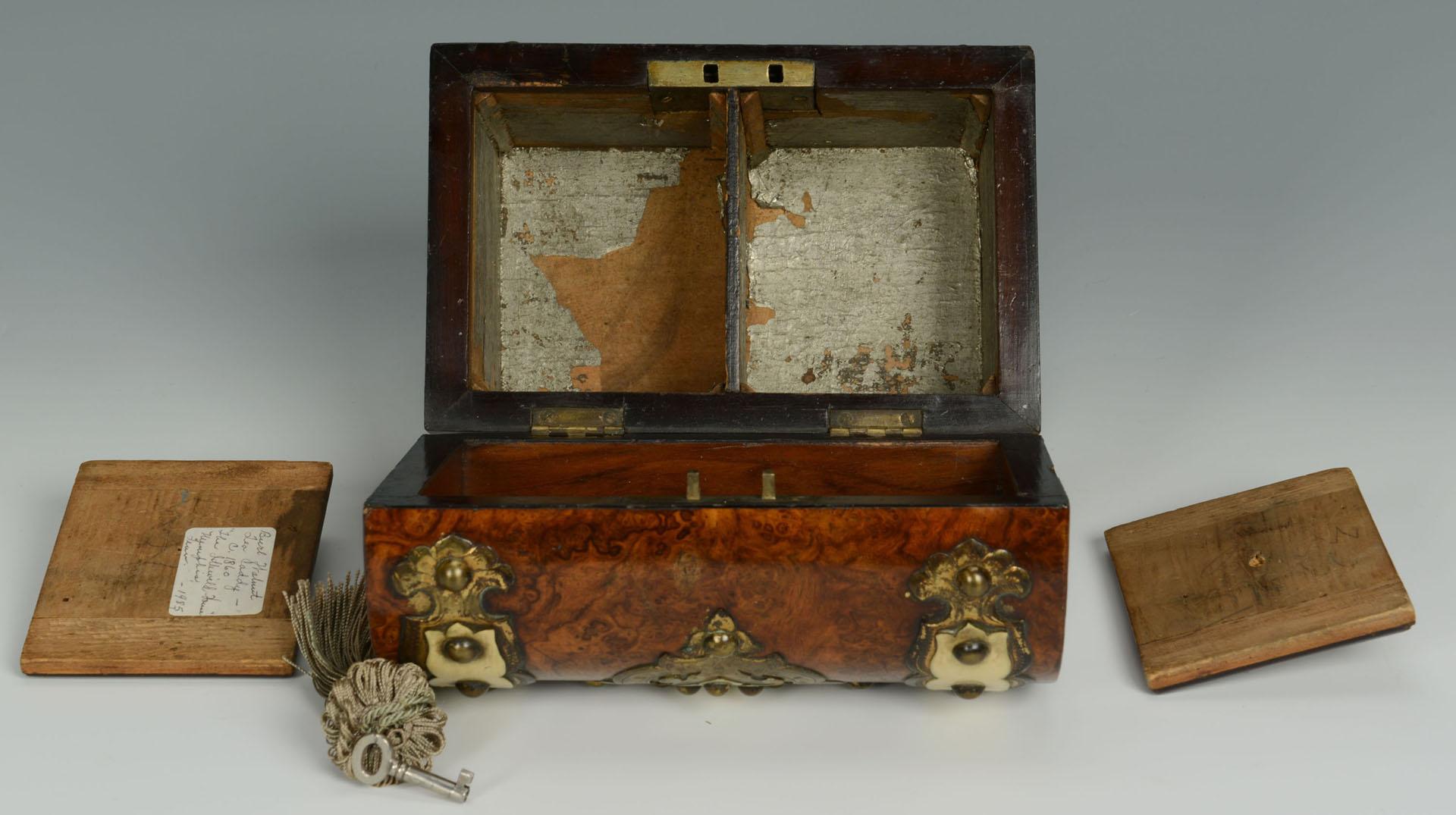 Lot 125: English Burl Wood & Ivory Mounted Tea Caddy