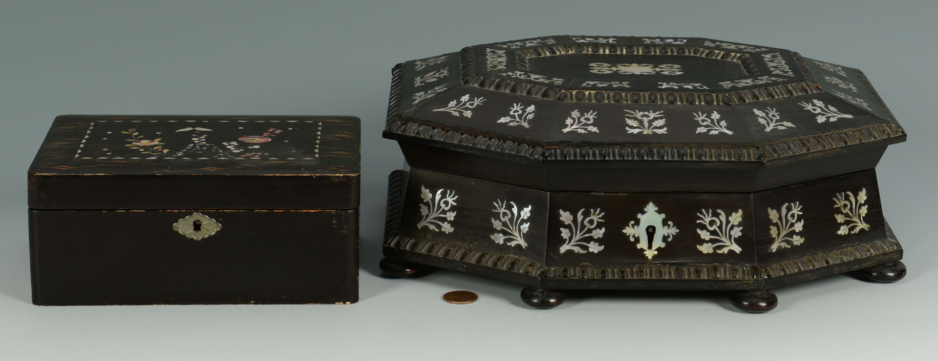 2 Lacquer & Mother of Pearl Inlay Boxes