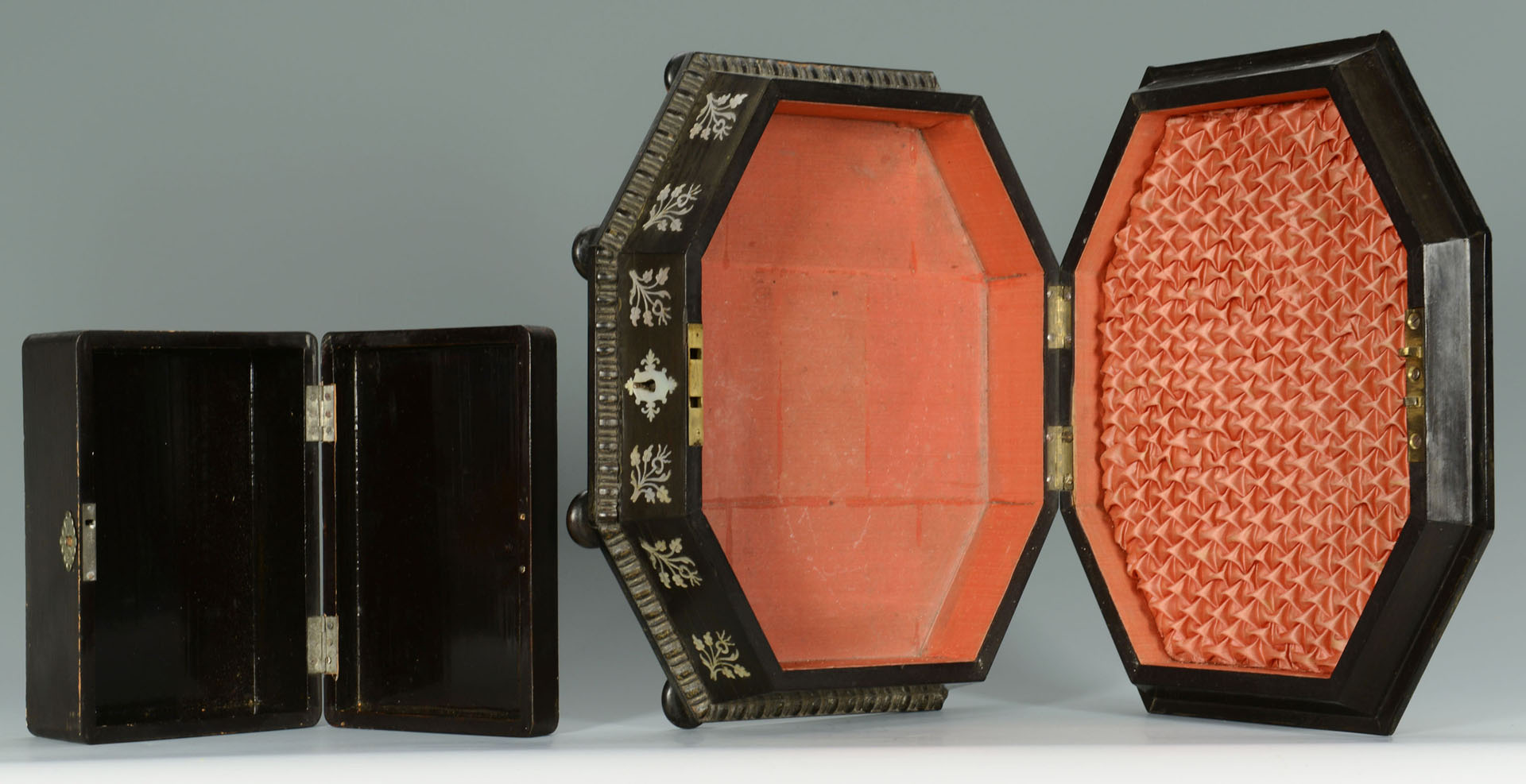Lot 127: 2 Lacquer & Mother of Pearl Inlay Boxes