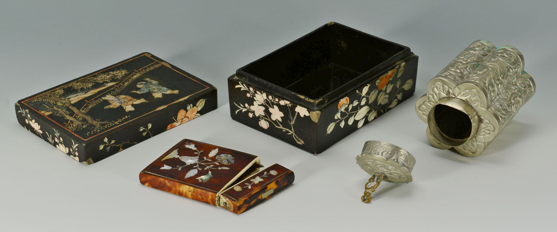 Four boxes including lacquer