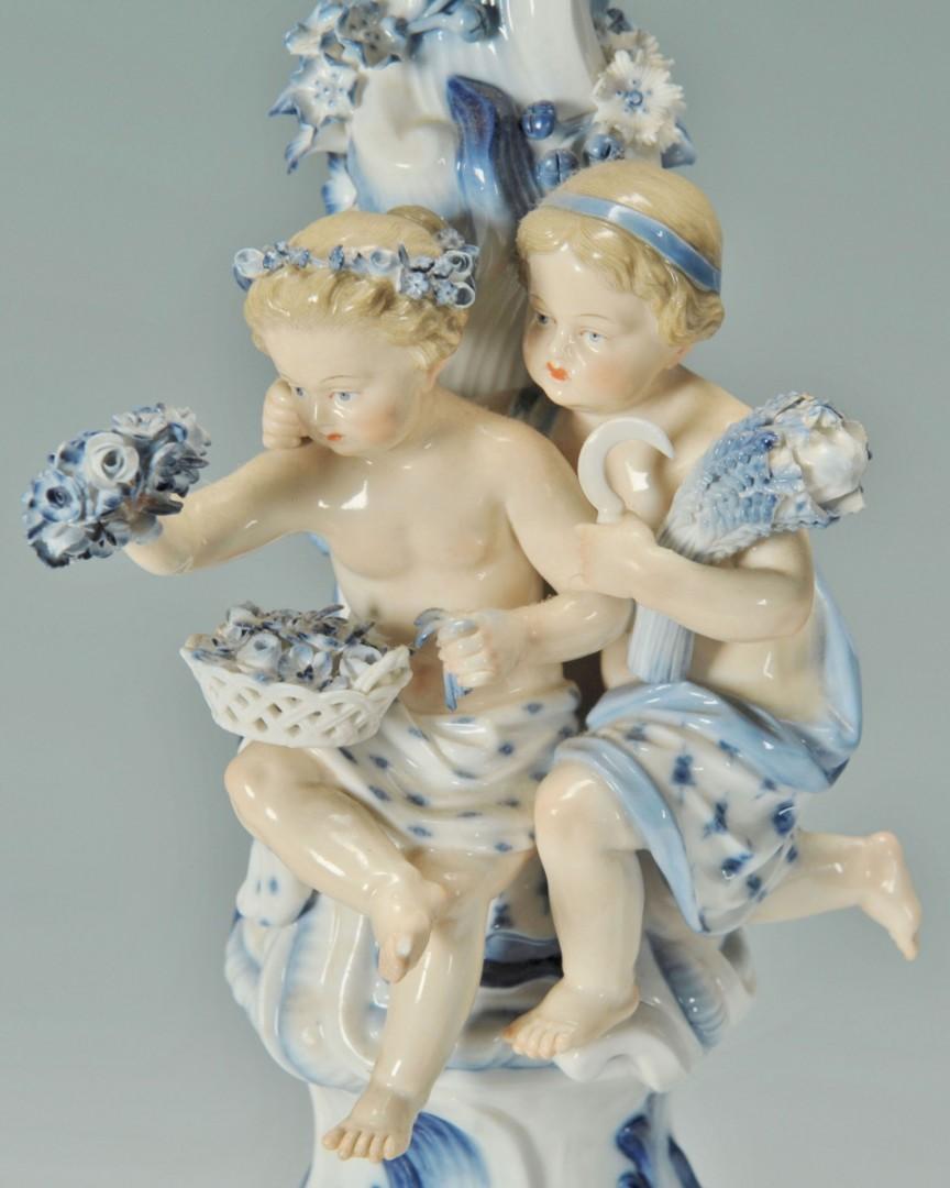 Pair 19th c. Meissen Candelabra with children
