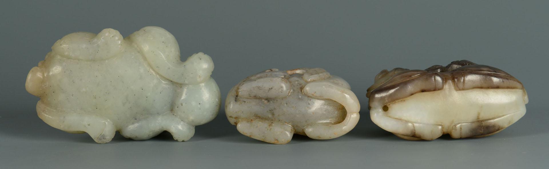Lot 12: Group of 3 Celadon Jade Foo Dogs