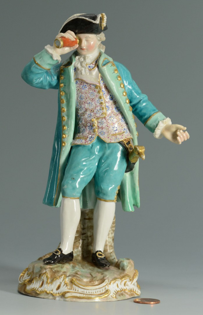 Lot 130: Meissen Porcelain Figure of Captain w/ Spyglass