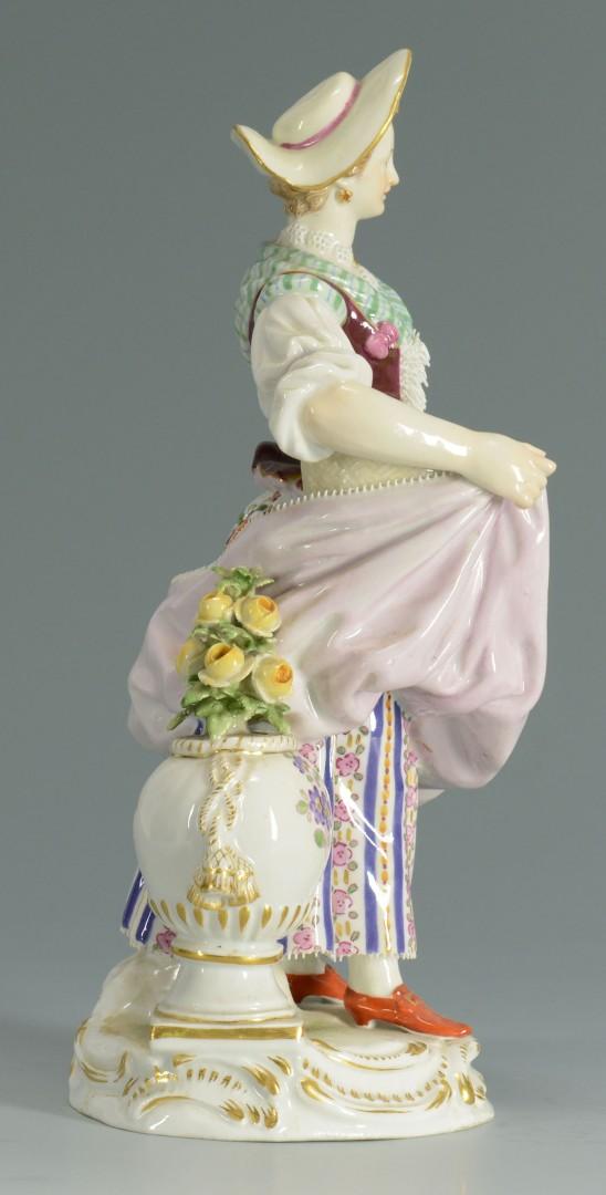 Lot 131: Meissen Porcelain Figure of a Lady w/ flowers