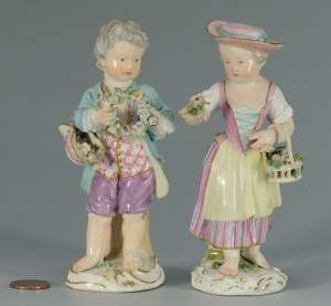 Lot 132: 2 Meissen Porcelain Figures, Girl & Boy